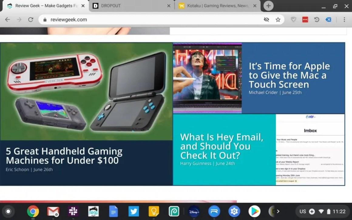 Скриншот Chromebook Duet, показывающий обзор Geek