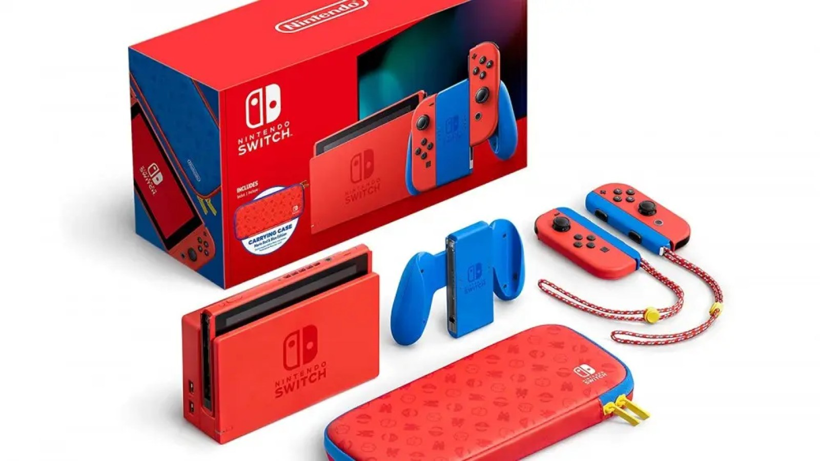 Limited-Edition 'Super Mario' Switch with a Mario-themed blue and red paint job and carrying case.