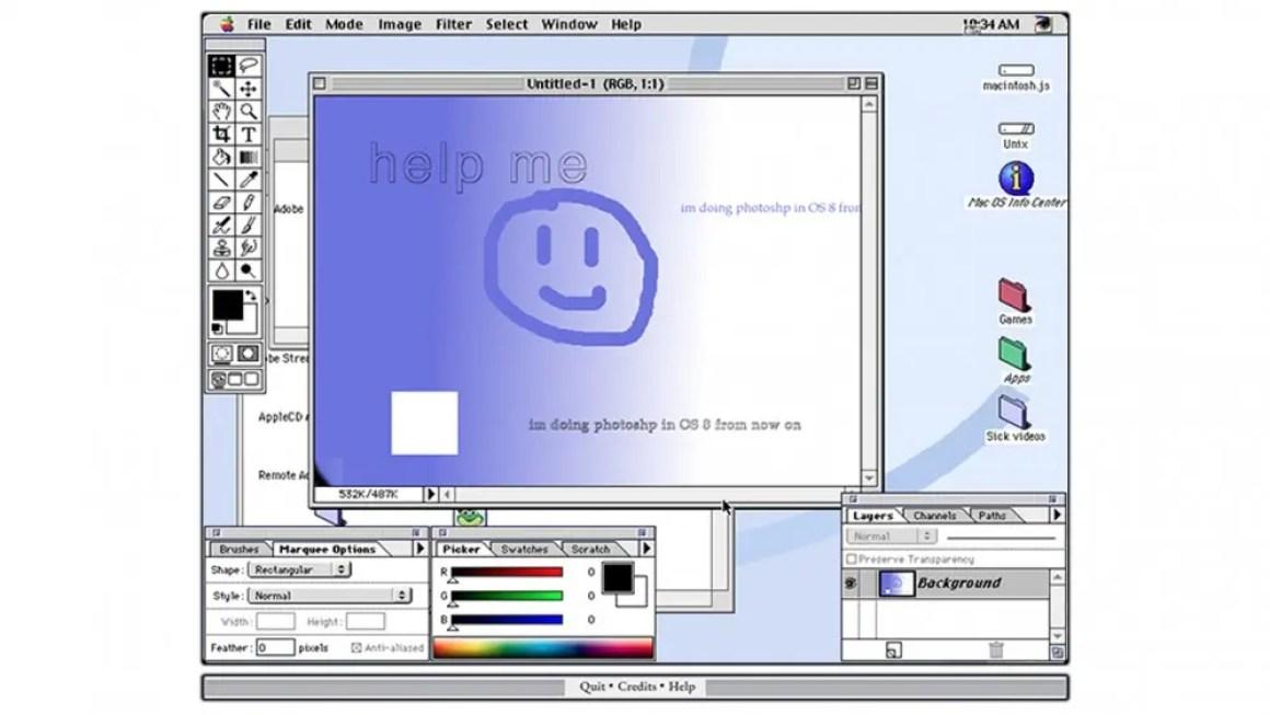 Скриншот macintosh.js под управлением Photoshop.