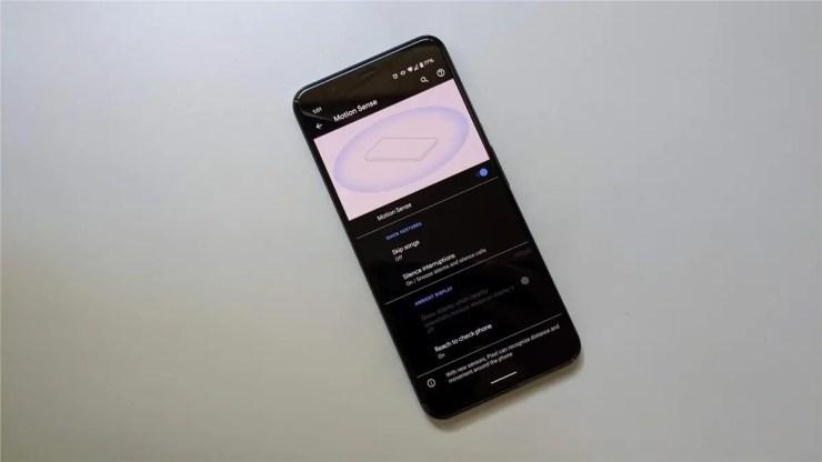 The Motion Sense menu on the Pixel 4 XL