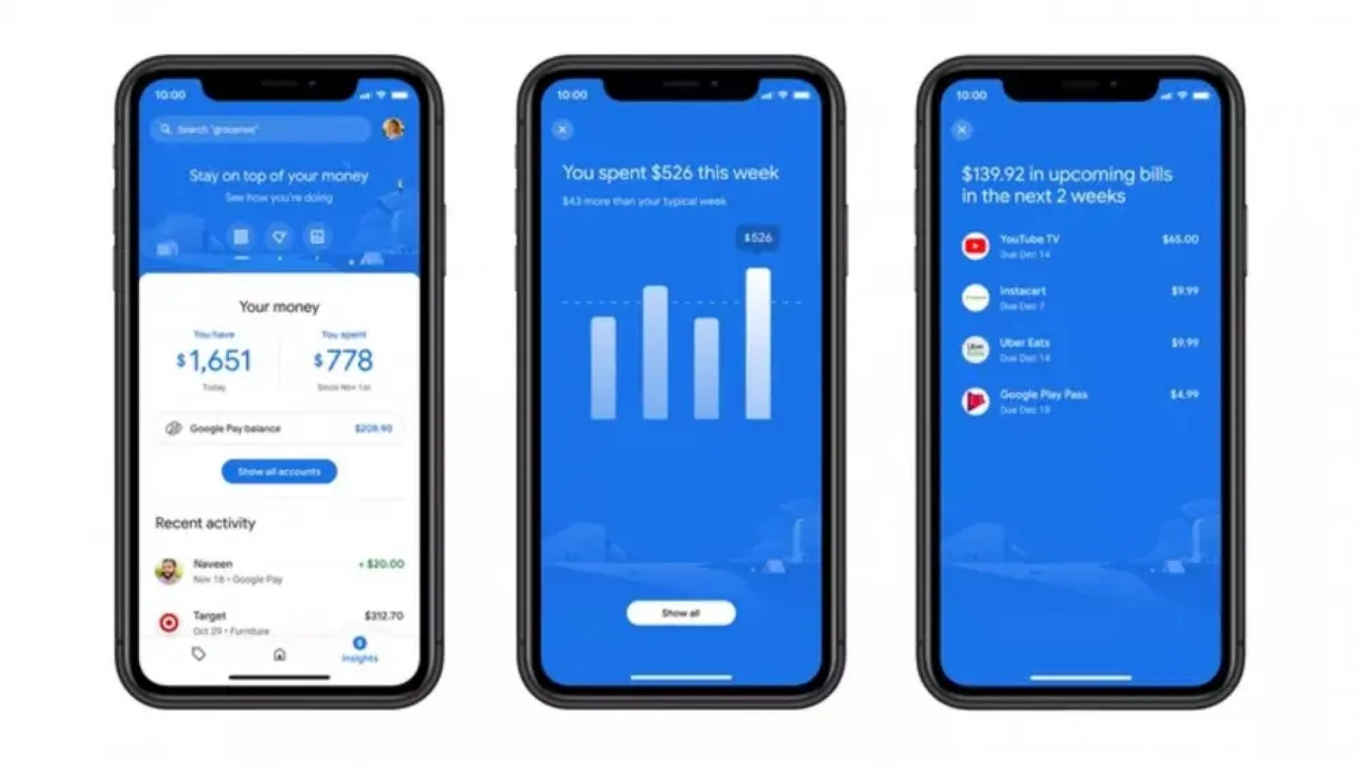 Google Pay spending tools