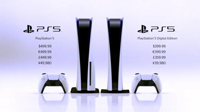 Two PS5 units, with pricing next to them.
