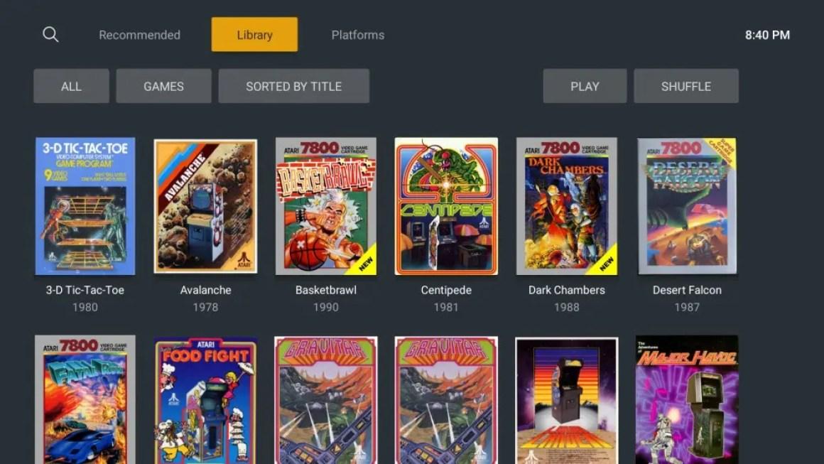 Библиотека Plex, заполненная игровыми ромами от Atari