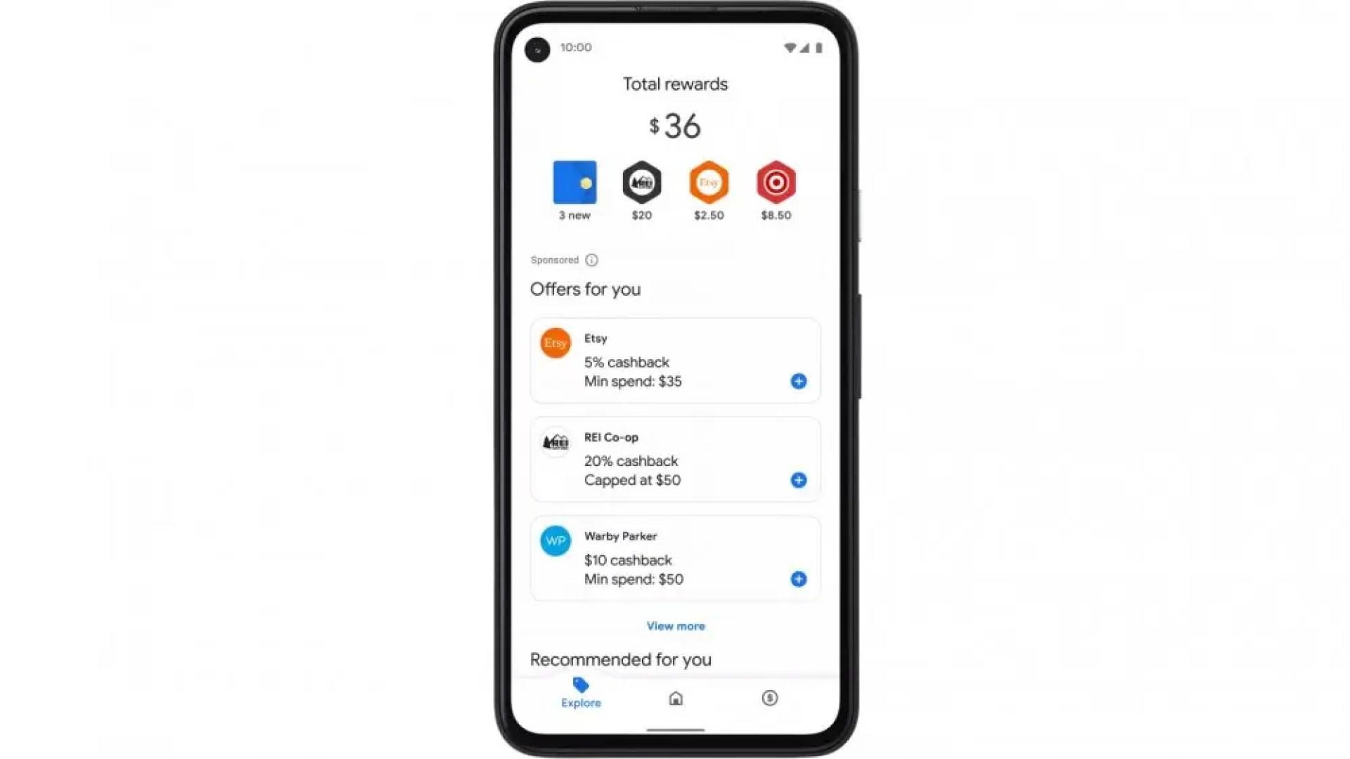 Google Pay Explore tab