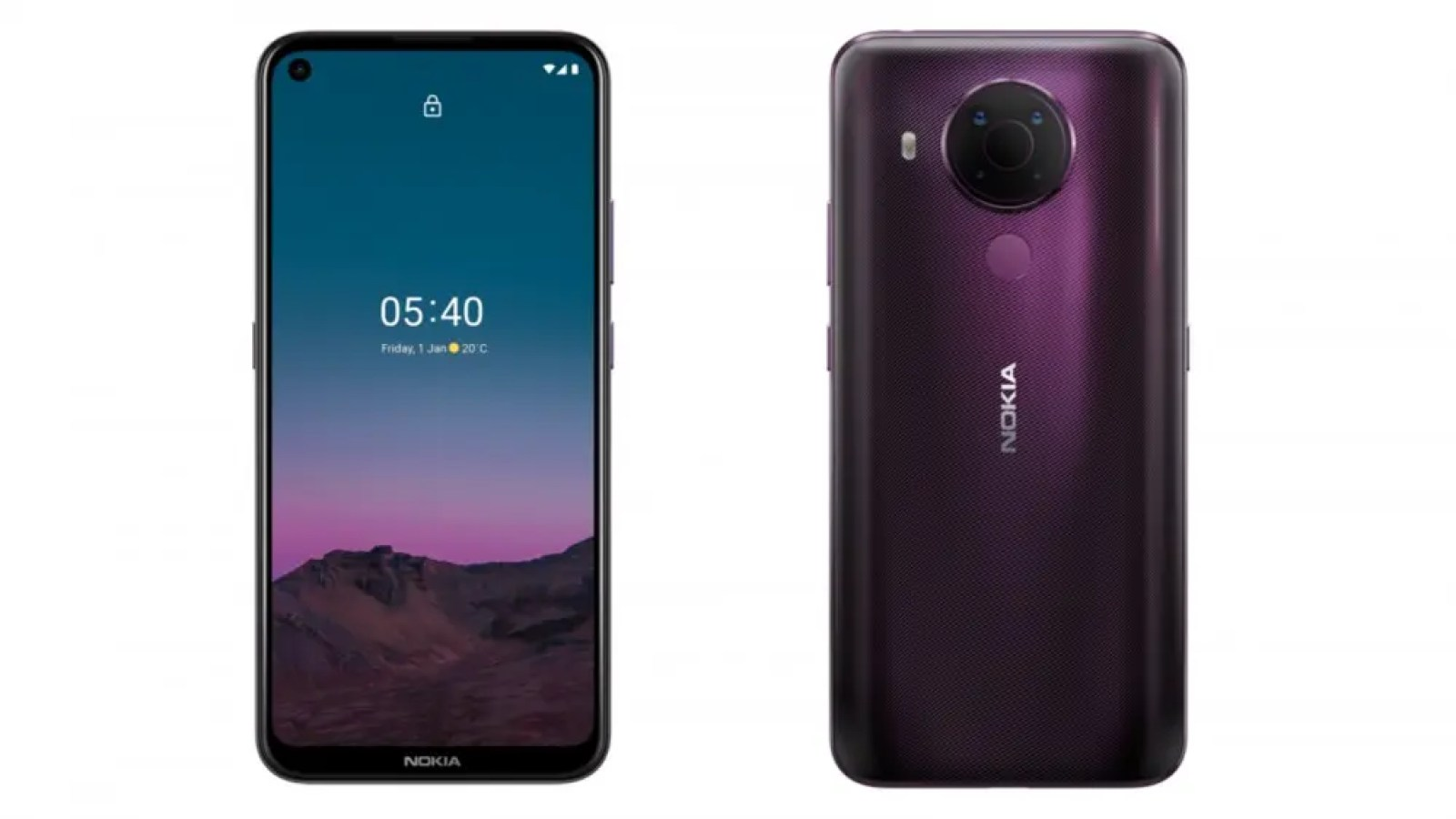 Front and back of Nokia 5.4 smartphone