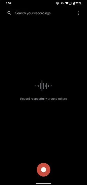 Recorder screenshot on the Pixel 4