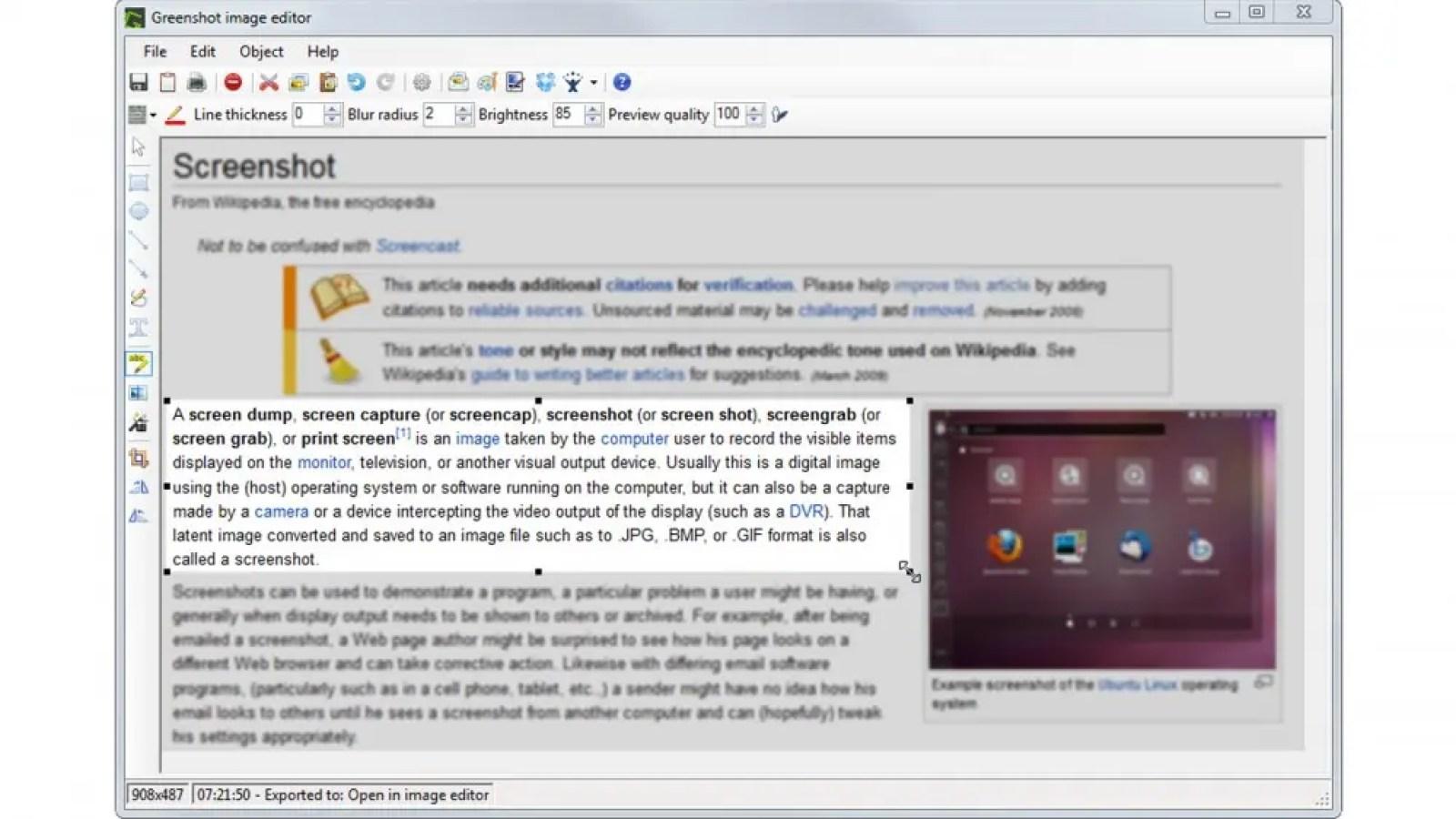 Greenshot free open-source screenshot tool capturing part of a web article