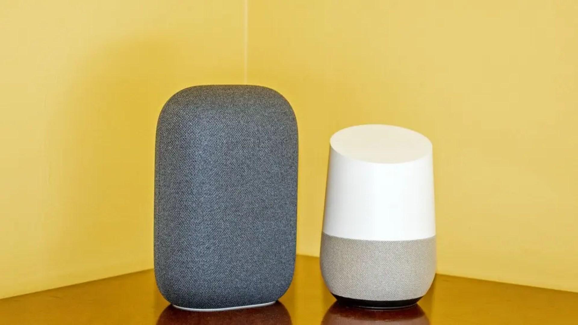 A Nest Audio next to a Google Home