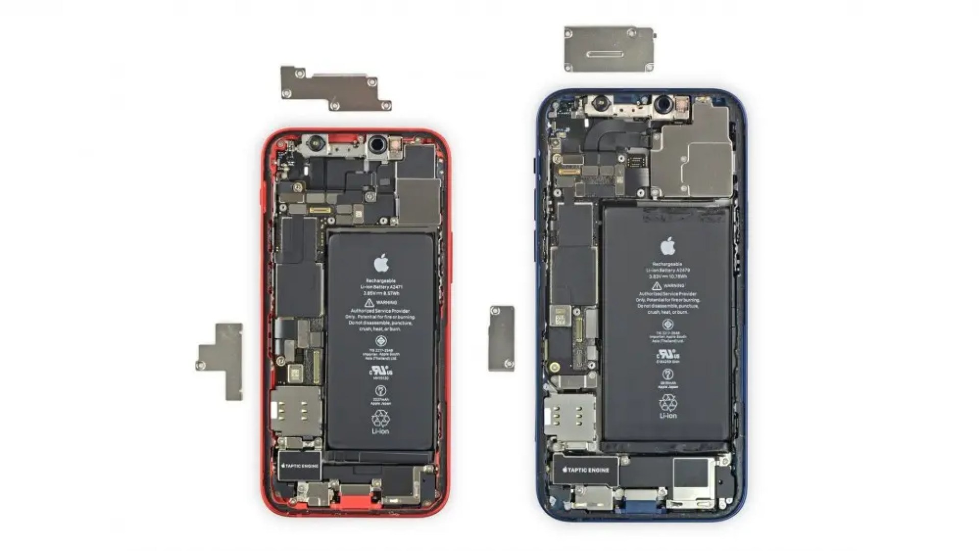 The iPhone 12 Mini compared to the regular iPhone 12 with backs removed to expose the battery and boards
