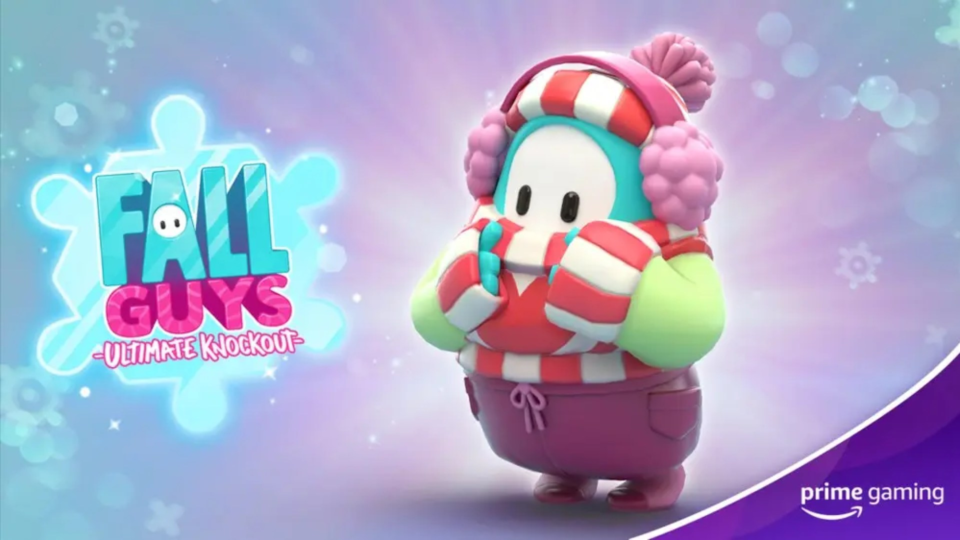 """Fall Guys"" game winter logo and avatar in new winter costume"