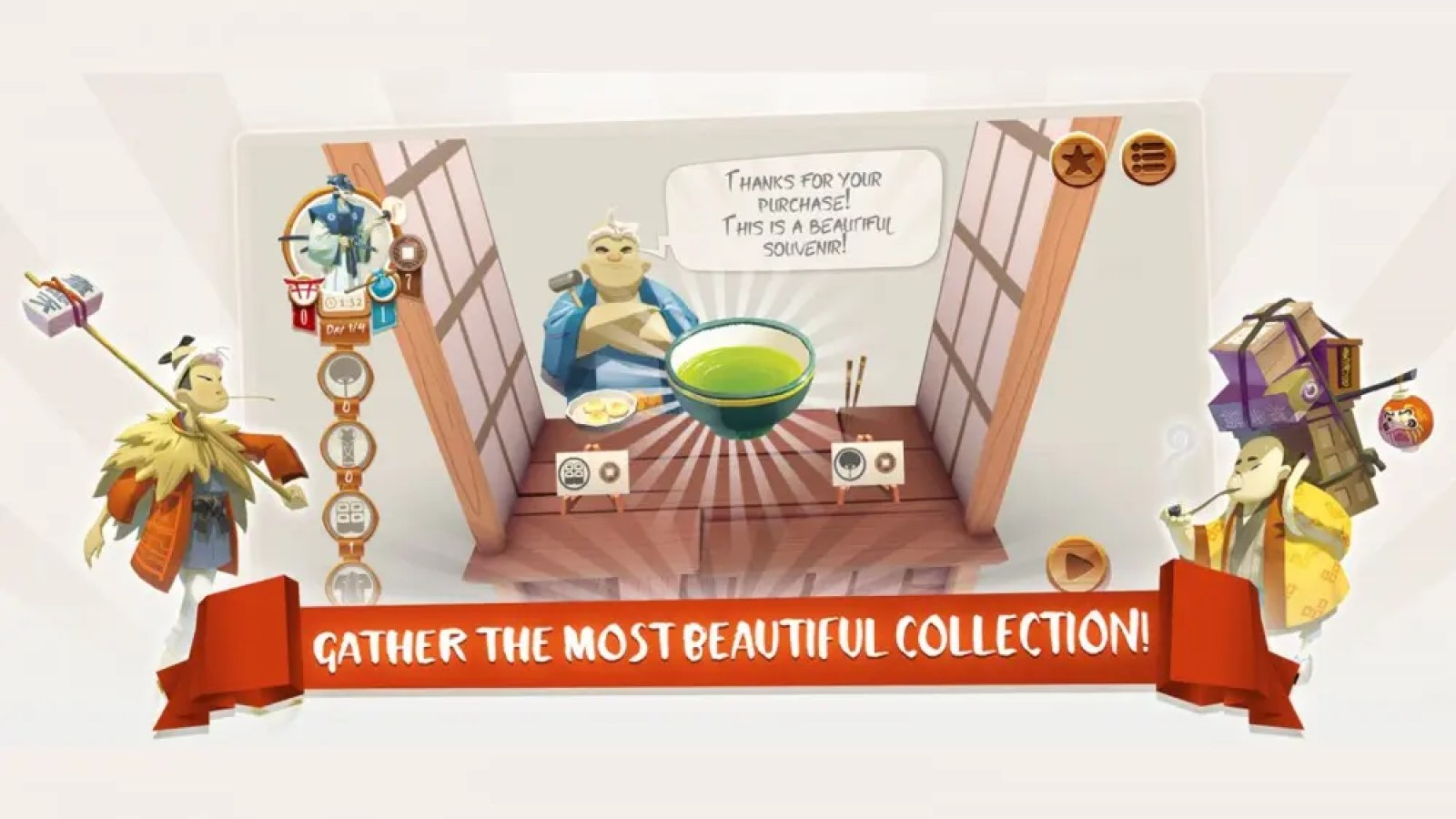 You'll gather a collection of artifacts and artwork during Tokaido