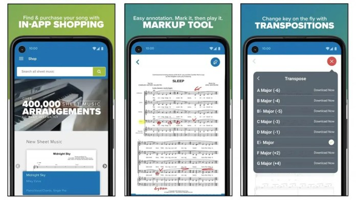 Musicnotes app for buying, annotating, and displaying sheet music