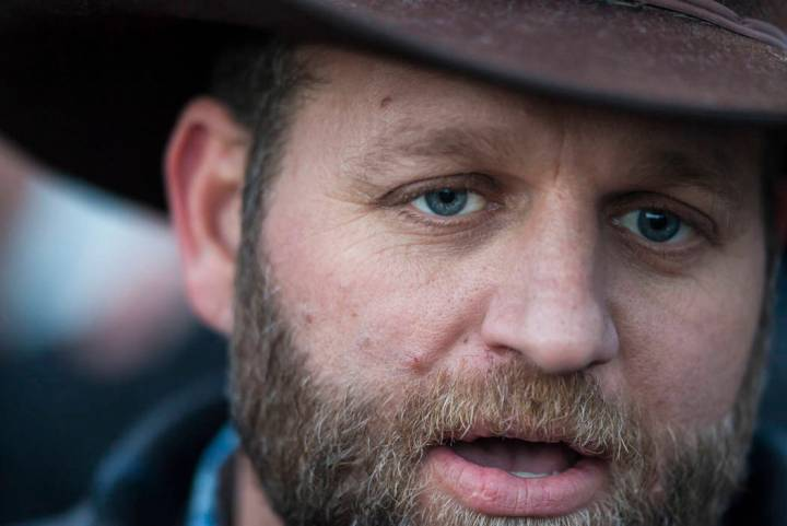 Ammon Bundy speaks with reporters after meeting with Harney County Sheriff Dave Ward, at the Malheur National Wildlife Refuge headquarters near Burns, Ore, Jan. 7, 2016. (Chase Stevens/Las Vegas R ...