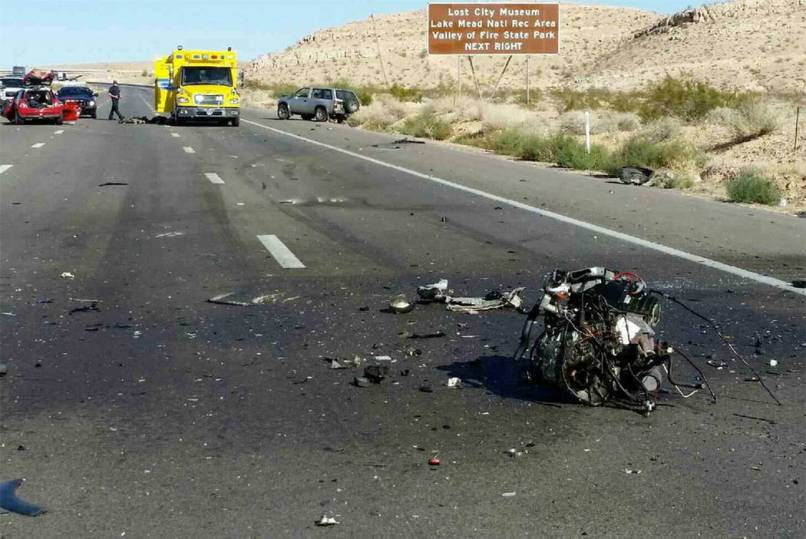 The Scene Of A Fatal Crash On Interstate 15 Near Moapa Sunday Nevada
