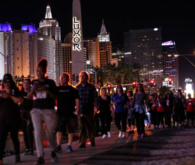 People Gather Across Mandalay Bay During The Vegas Strong Las Vegas Strip Walk Honoring The Victims