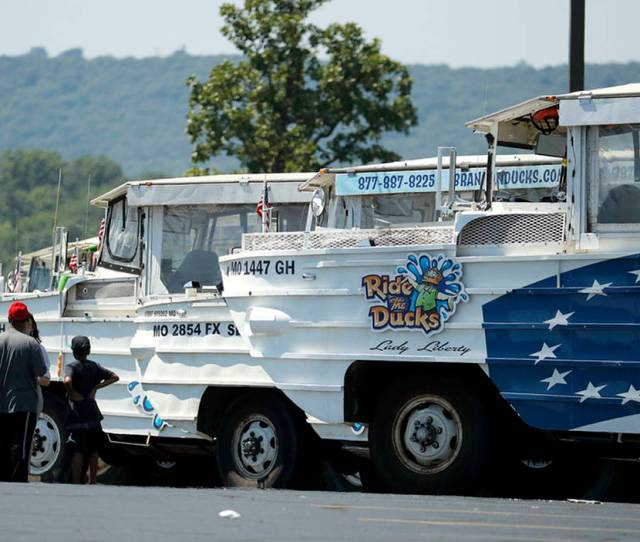 People View A Row Of Idled Duck Boats In The Parking Lot Of Ride The Ducks