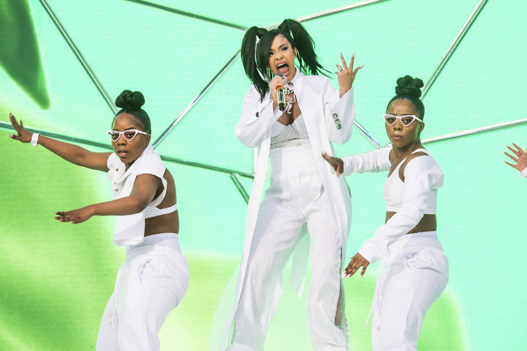FILE - In this April 15, 2018 file photo, Cardi B performs at the Coachella Music & Arts Festival at the Empire Polo Club in Indio, Calif. A list of nominees in the top categories at the 2019 ...