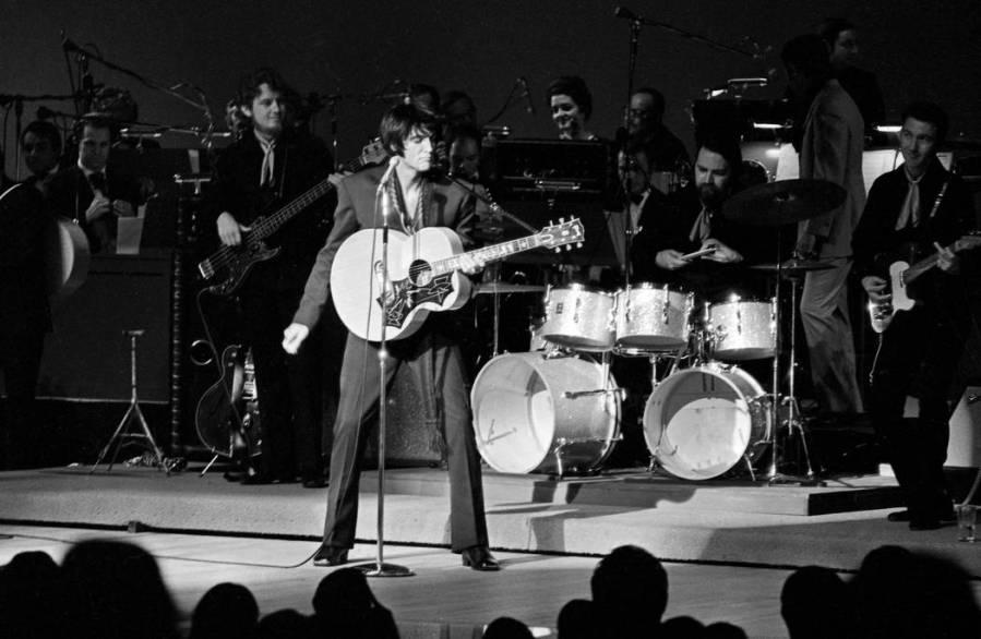 Elvis performs at the International July 31, 1969, in Las Vegas. (Terry Todd/Las Vegas News Bureau)