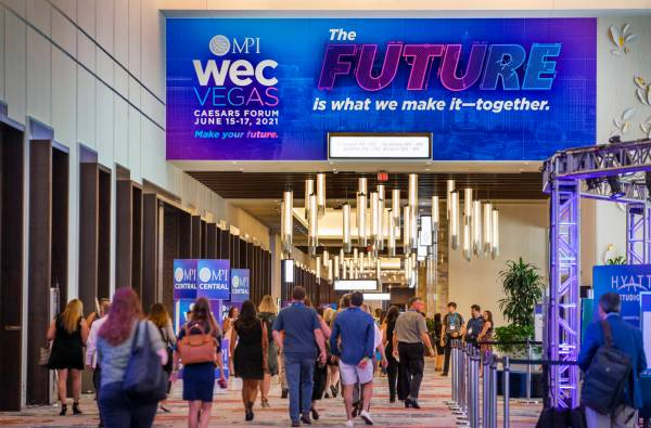 Hybrid Event Example: MPI WEC Vegas. Photo showing attendees entering the venue.