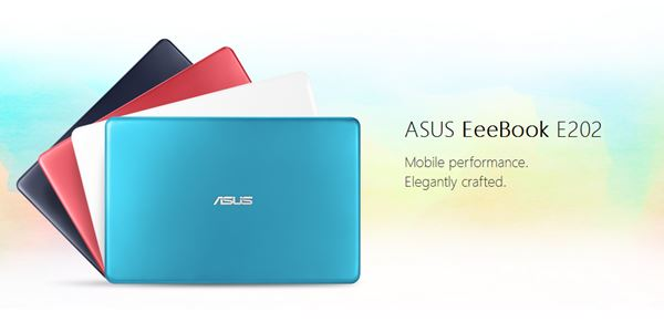 Pilihan Warna Asus E202SA Silk White, Dark Blue, Thunder Blue, dan Red Rouge