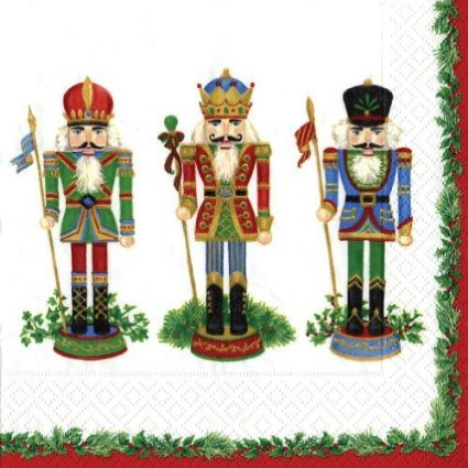 Caspari Cocktail Napkins Nutcracker
