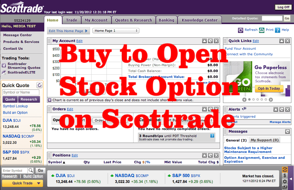 Stock options sell to open
