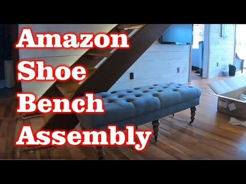 Assembly of Linon Isabelle, 50″, Blue Washed Linen Bench from Amazon