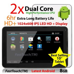 2014 FastTouchTM 10 inch Tablet PC Google Android 4.4, 8GB, Dual Cortex-A9, 1.2GHz