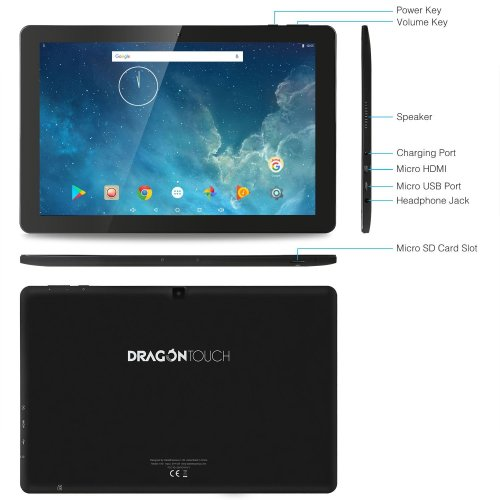 Dragon Touch X10, 10.1 Inch Android Tablet 2GB RAM 16GB Nand Flash Android 7.0
