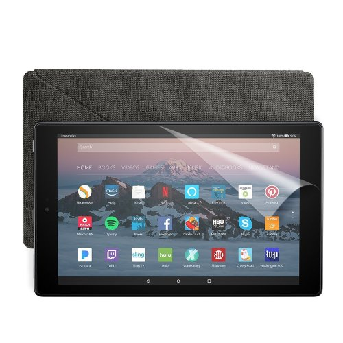 Fire HD 10 Essentials Bundle with Fire HD 10 Tablet (32 GB, Black), Amazon Cover (Charcoal Black) and Screen Protector (Clear)