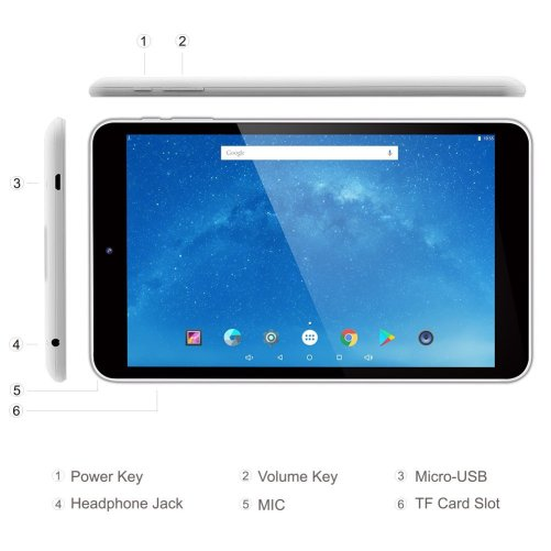 2018 Dragon Touch 8 Inch Android Tablet, Intel 64 bits Quad Core, 1GB RAM, 16GB Flash, IPS Display 1280x800, Google Android 5.1 Lollipop, Bluetooth 4.0, FM 10 Point Multi-Touch, Dual Camera