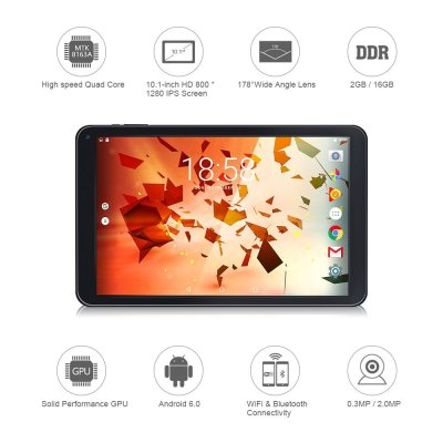 2018 TOPELOTEK 10.1 Inch Android Tablet PC, WiFi, Google Android 6.0 OS, MediaTek 8163 Quad-Core 1.3GHz, 800x1280 IPS Display, 2GB RAM, 16GB Storage, Bluetooth 4.0, Dual Camera, Micro HDMI Type, Black