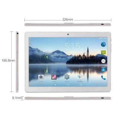 Phablet 10-inch Unlocked 3G Phone Tablet PC Dual SIM Card Slots 1GB RAM 16GB Storage Quad-Core IPS 1280x800, WiFi Bluetooth GPS Dual Camera, Silver