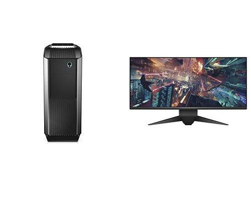 Alienware Gaming PC Desktop and Dell Alienware Curved Gaming Monitor LED