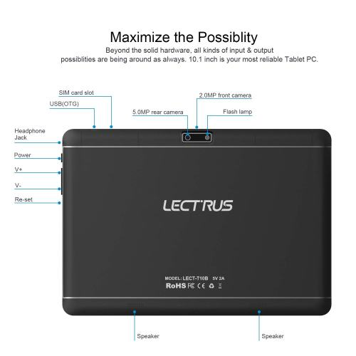 Lectrus 10-inch 3G Tablet Phone Call, Phablet with Dual Sim Card Slots, Dual Camera