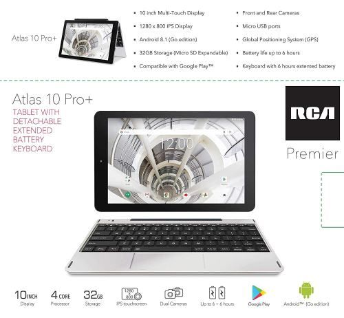 RCA 10-inch Android Tablet HD IPS with Extended Battery Keyboard, 32GB