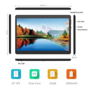 Foren-Tek 10-inch Android Phone Tablet with SIM Card Slot Unlocked 10.1-inch IPS