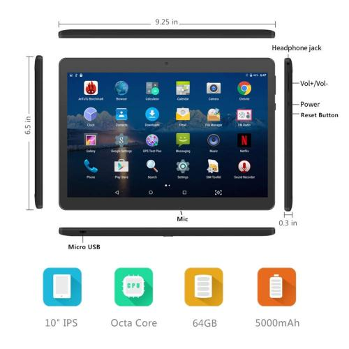 YELLYOUTH 10-inch Android 3G Phablet with Sim Card Slots 4GB RAM 64GB
