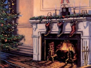 Stockings hanging beside a fireplace towards the right with a christmas tree on the left.