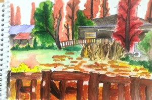 Painting of the view of a hut from the other side of the pond