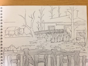 Drawing of the view of a hut from the other side of the pond