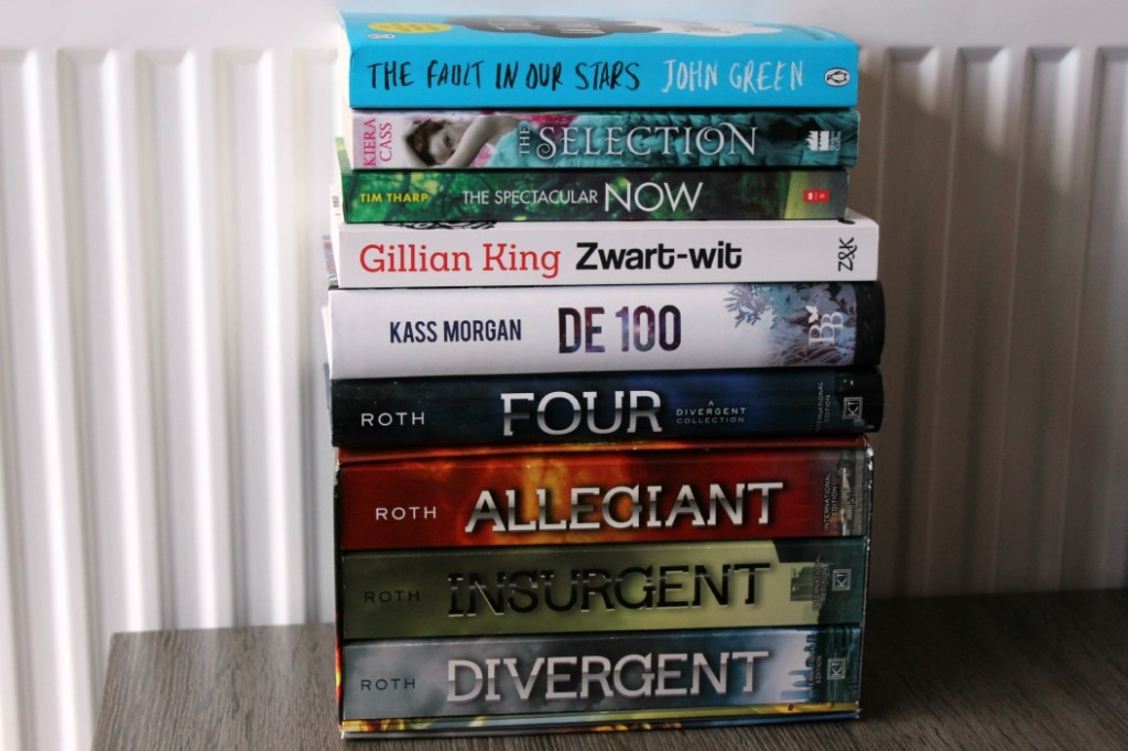 The Fault in Our Stars, The Selection, The Spectacular Now, Zwart-wit, De 100, Four, Divergent, Insurgent, Allegiant