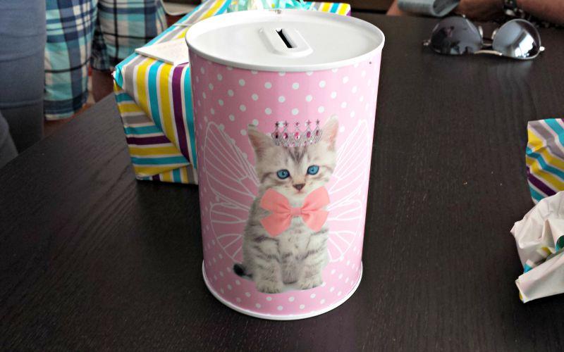 Roze kitten spaarpot van de Blokker