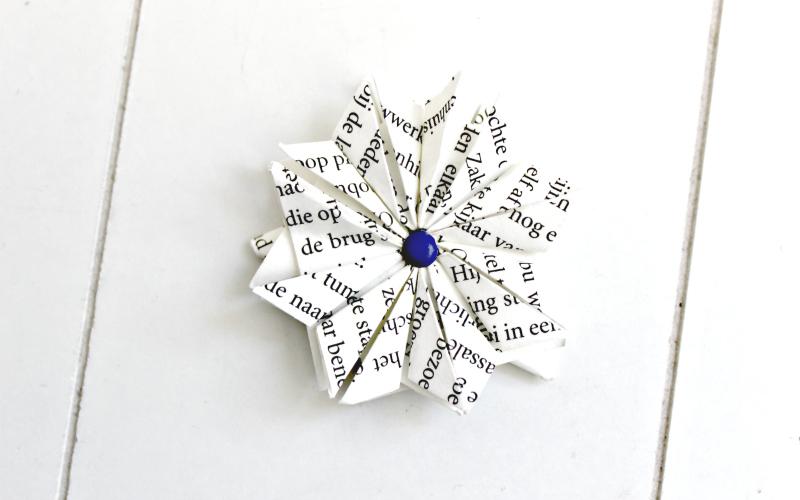 Handmade origami bookmark flower