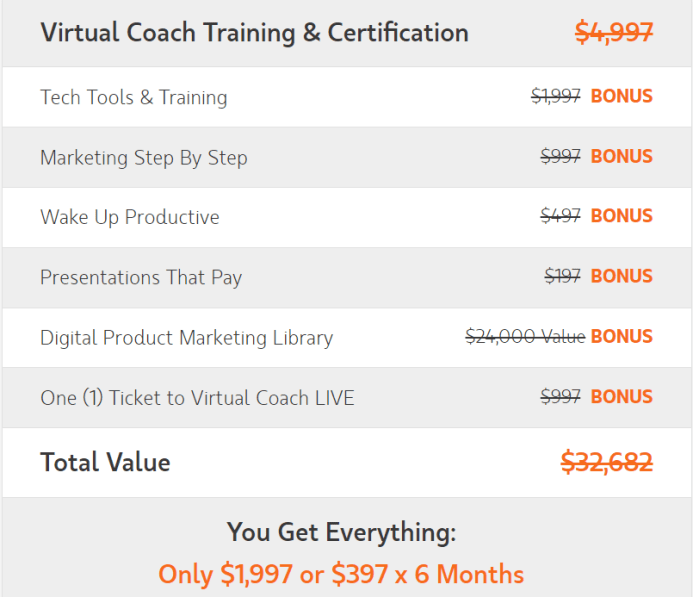 Virtual Coach Bonuses