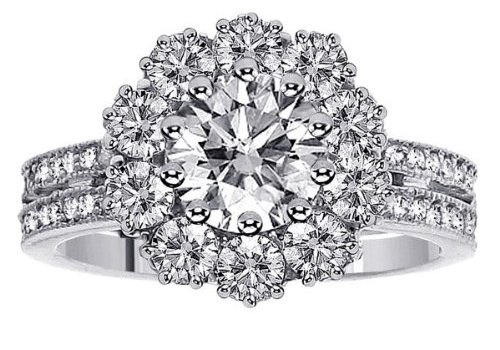 2.49 CT TW 2-Row Shank Diamond Halo Engagement Ring in 14k White Gold Pave Setting