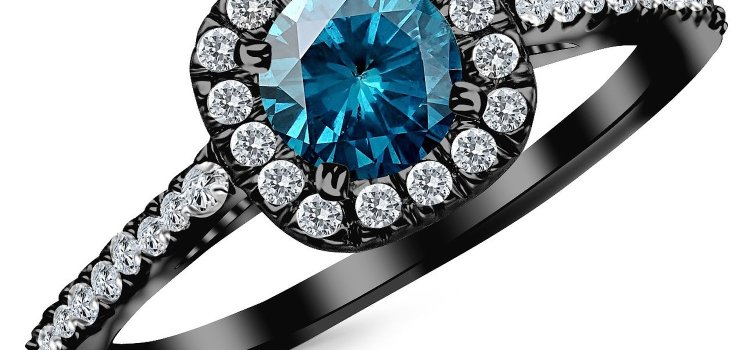 1.85 Carat 14K Black Gold Gorgeous Classic Cushion Halo Style Diamond Engagement Ring with a 1.5 Carat Blue Diamond Center (Heirloom Quality)