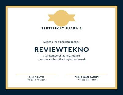 hadiah lomba juara 1 E Sertifikat FF