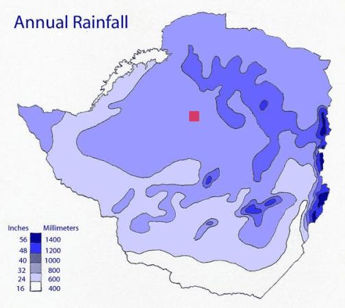 Rainfall patterns of Zimbabwe. Image by Runyamhere.