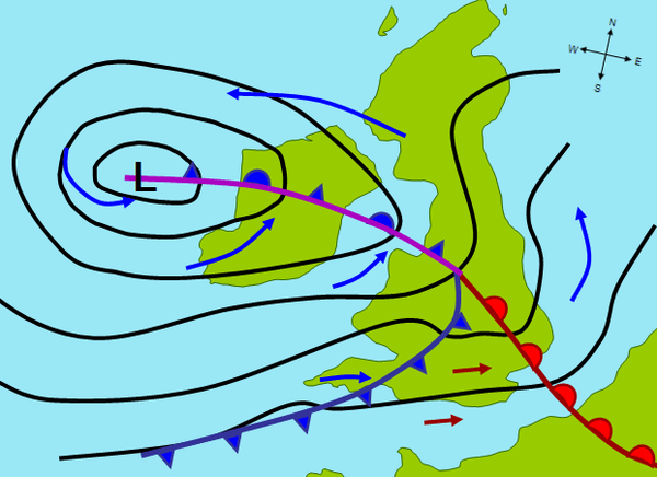Isobars showing a Depression on a map. Image credit Wikimedia Commons